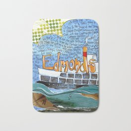EDMONDS, WASHINGTON the town and the adventures by Seattle Artist Mary Klump Bath Mat