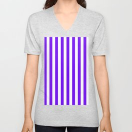 Narrow Vertical Stripes - White and Indigo Violet Unisex V-Neck