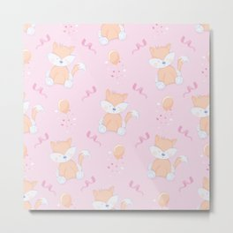 Happy Birthday Orange Fox Pink Background Pattern Metal Print