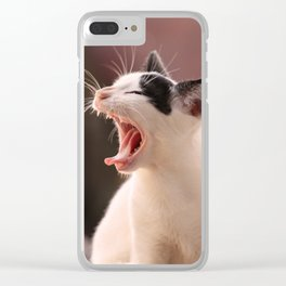 Black and White Cat Yawning Clear iPhone Case