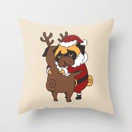 Pug Hugs Christmas Throw Pillow