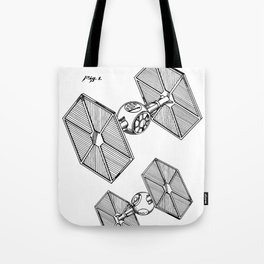 Starwars Tie Fighter Patent - Tie Fighter Art - Black And White Tote Bag