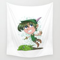 peter pan Wall Tapestries featuring Peter Pan by EY Cartoons
