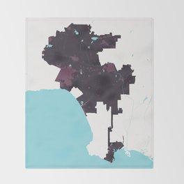 Los Angeles California Minimalist Map (Plum) Throw Blanket