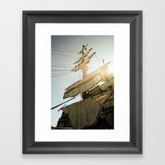 Tall Ship in Boston Harbor Framed Art Print