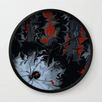 black widow Wall Clocks featuring widow by Shea33