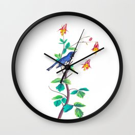 Blue Birds & Pastel Turquoise Leaves Wall Clock