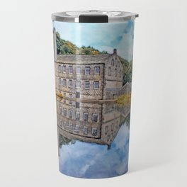 gibson mill reflected in an autumn pond Travel Mug