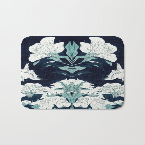 JAPANESE FLOWERS Midnight Blue Teal Bath Mat