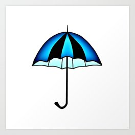 Bright Blue Black Rain Umbrella Illustration Art Print