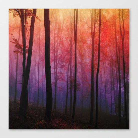 Whispering Woods, Colorful Landscape Art Canvas Print
