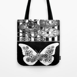BLACK & WHITE CLOCKWORK BUTTERFLY ABSTRACT ART Tote Bag
