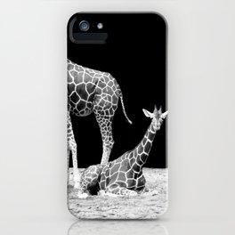 Black and White Giraffes Two Giraffes iPhone Case