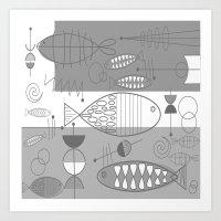 mid century modern Art Prints featuring Mid-Century Modern Fish by Kippygirl