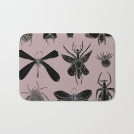 Entomology black and Antique Rose Bath Mat