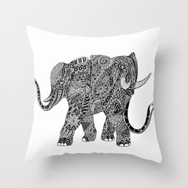 Snakelephant Indian Ink Hand Draw Throw Pillow