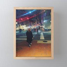 Walking in the street Framed Mini Art Print