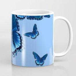 DECORATIVE PATTERNED BLUE on BLUE  BUTTERFLY FLOCK Coffee Mug