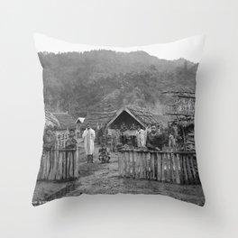 Alfred Burton - Village Scene, Koriniti (Corinth), Wanganui River (1885) Throw Pillow