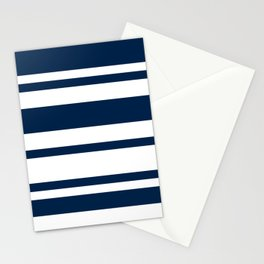 Mixed Horizontal Stripes - White and Oxford Blue Stationery Cards