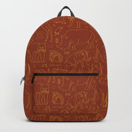 African Animal Mudcloth in Rust + Ochre Backpack