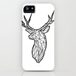 Black Line Faceted Stag Trophy Head iPhone Case