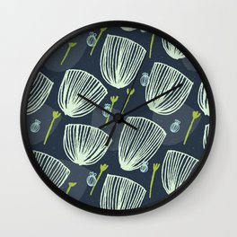 Tulip Garden M+M Navy Black by Friztin Wall Clock