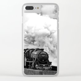Jacobite train crossing Glenfinnan viaduct Clear iPhone Case