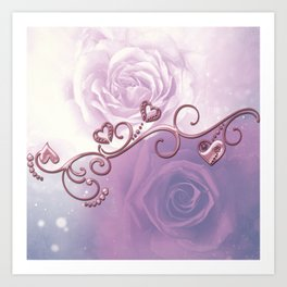 Beautiful violet roses with hearts Art Print