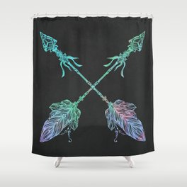 Tribals Arrows Turquoise on Gray Black Shower Curtain