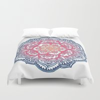 bedding Duvet Covers featuring Radiant Medallion Doodle by micklyn
