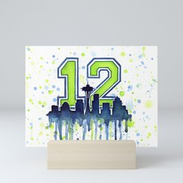 Seattle Skyline Space Needle 12th Art Mini Art Print