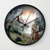 dinosaur Wall Clocks featuring Dinosaur by giftstore2u