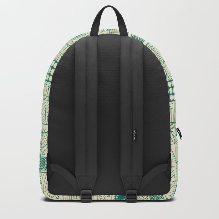 geo wolf teal ivory Backpack