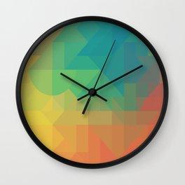 Geometric Geometry Gradient Blue Green Orange Yellow Pattern Wall Clock