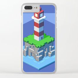 Lighthouse isometric pixel art Clear iPhone Case