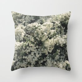 Summer Blooming Spirea, white flowers Throw Pillow