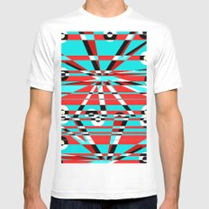 Grid Square TV Crazy MEDIUM Mens Fitted Tee White