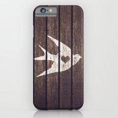 Vintage White Love Heart Bird Wood Panels Stripes Slim Case iPhone 6s