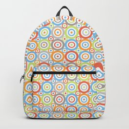 Abstract Circles Repeat Pattern Color Mix & Greys Backpack