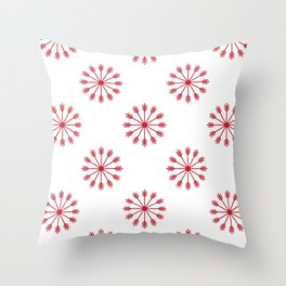 Snowflakes - white and red Throw Pillow
