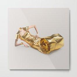 Lose your head - Gold tube Metal Print