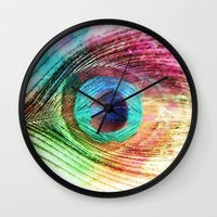 peacock feather Wall Clocks featuring Peacock Feather by Klara Acel