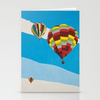 hot air balloons Stationery Cards featuring Three Hot Air Balloons by Shelley Chandelier