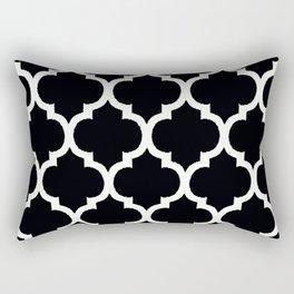 Moroccan Black and White Lattice Moroccan Pattern Rectangular Pillow