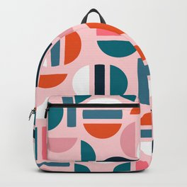 Vintage Retro Style Gameshow Mod Pink and Teal Circular Shape Pattern Backpack