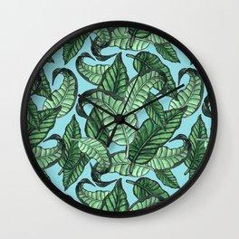 Leaves watercolor n.1 in pale blue Wall Clock
