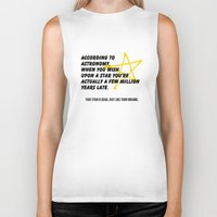astronomy Biker Tanks featuring According to Astronomy by Spooky Dooky