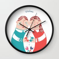 sister Wall Clocks featuring Sister by Michela Gaburro