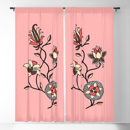 Whimsical illustrated Indian floral pink Blackout Curtain